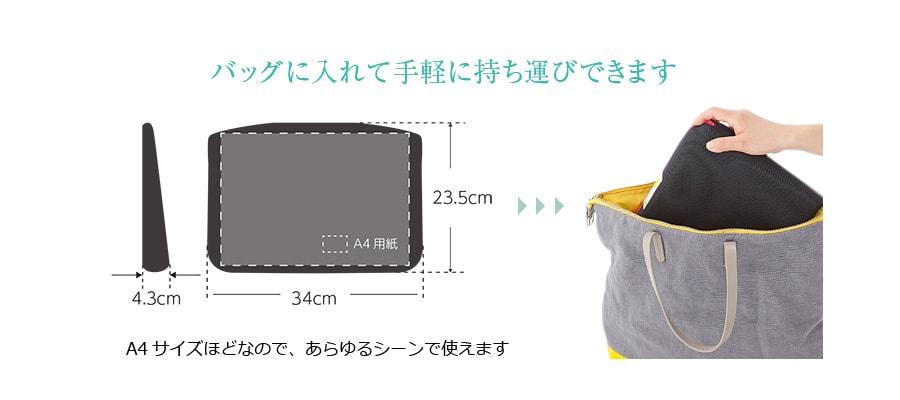 バッグに入れて手軽に持ち運びできます (A4サイズほど)