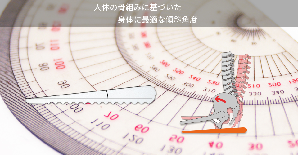 人体の骨組みに基づいた身体に最適な傾斜角度