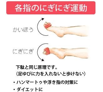 各指のにぎにぎ運動:下駄と同じ原理です。(足ゆびに力を入れないと歩けない)・ハンマートゥや浮き指の対策に・ダイエットに