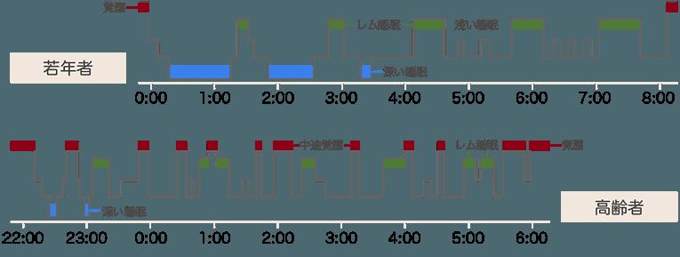 高齢者と若年者の睡眠脳波